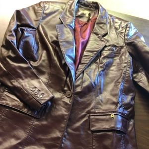Etienne Aigner lined wine leather blazer size 14
